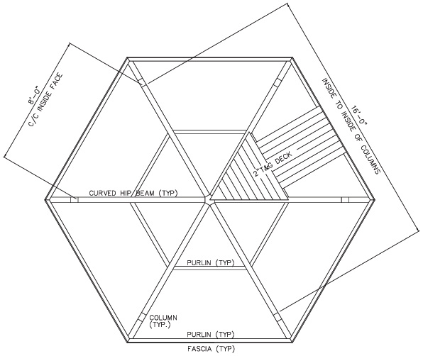 Hexagonal roof hexagon gazebo roof kits for Hexagonal roof framing